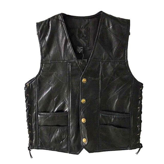 Chaqueta de cuero, gran oferta, chaleco para hombre, sin mangas, Punk, de bolsillo, holgado, marca negra, chaleco para motocicleta, abrigos, ropa de calle para hombre de PU