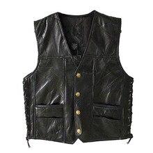 Deri ceket sıcak satış yelek erkek kolsuz Punk cep gevşek Fit siyah marka motosiklet yelek palto PU erkek Streetwear