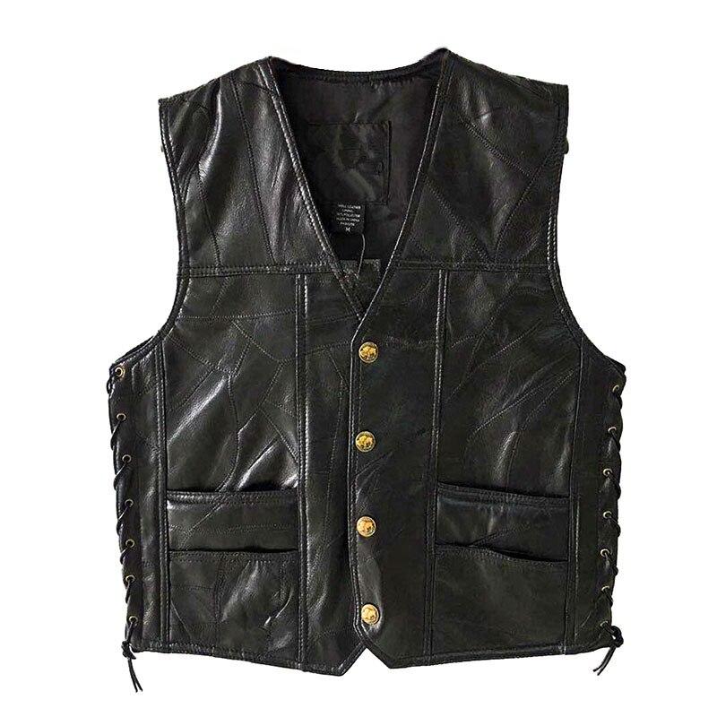 Leather Jacket Hot Sale Vest Mens Sleeveless Punk Pocket Loose Fit Black Brand Motorcycle Waistcoat Coats PU Male Streetwear