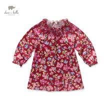 DB3635 дэйв белла осень девочка платье принцессы ребенка ролл шеи платье рождения детей одежда платье дети цветочные платья костюмы