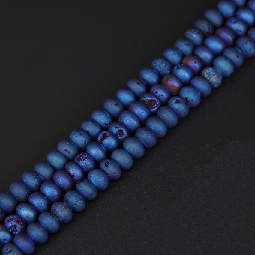 Синий Титан Druzy купля Rondelle Свободные Бусины Craft браслет выводы strand, сырье Drusy Geode пробуренных Spacer Талисманы Цепочки и ожерелья