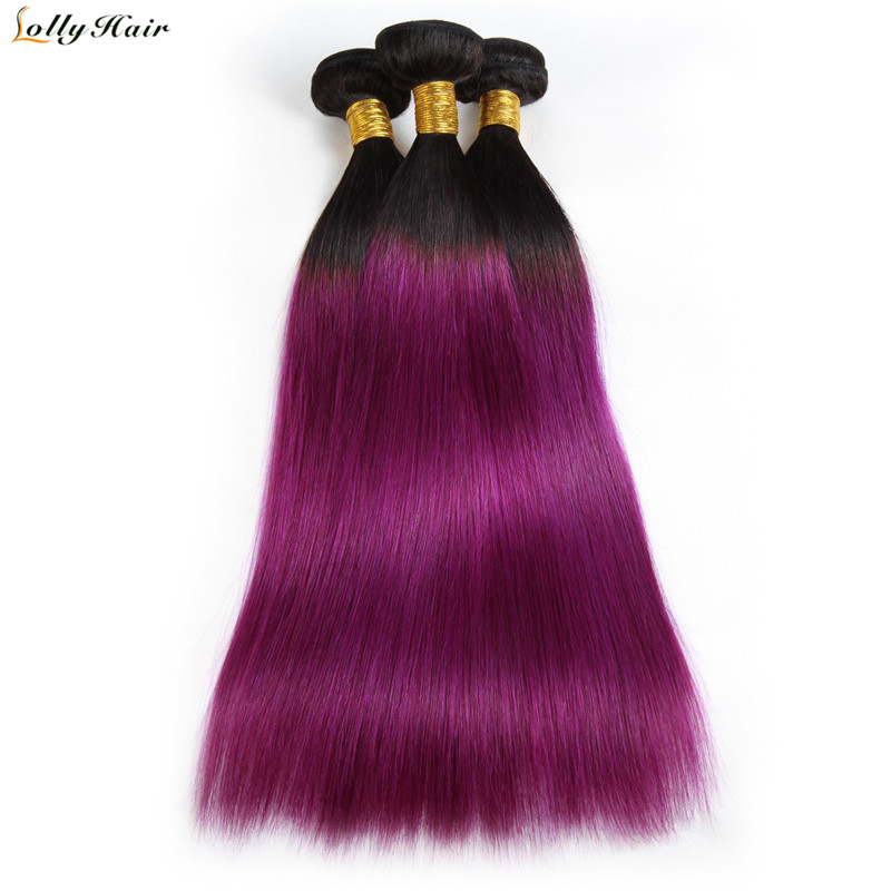 T1B/PURPLE Ombre Malaysian Straight Hair Weave 3 Bundles 100% Human Hair Bundles Free Shipping Lolly Non Remy Hair Extensions
