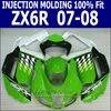 100 Fit For Kawasaki Ninja Fairing Kit Zx6r 2007 2008 07 08 Injection Fairings Green Customize