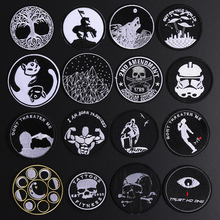 Black Punk Style Skull Patches Round Taichi Cat Star Appliques Iron On War Robot Letter Badges for Clothes Jeans Shoe Decor