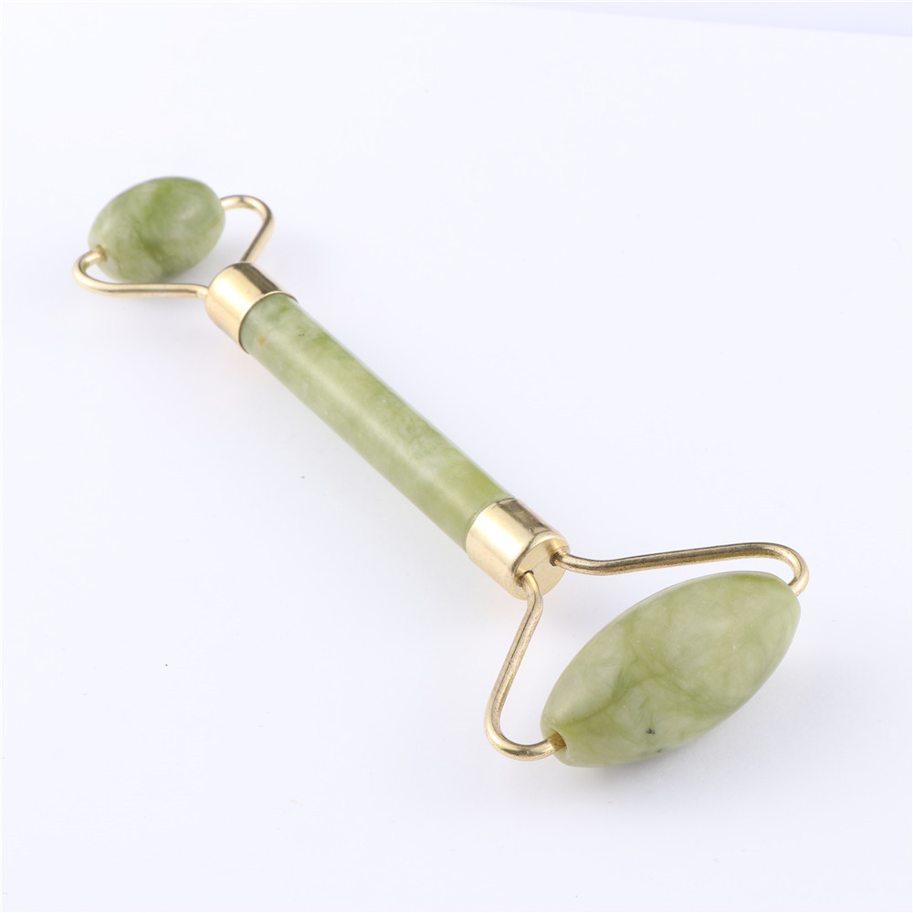 LEKGAVD Facial Massage Roller Double Heads Jade Stone Face Lift Hands Body Skin