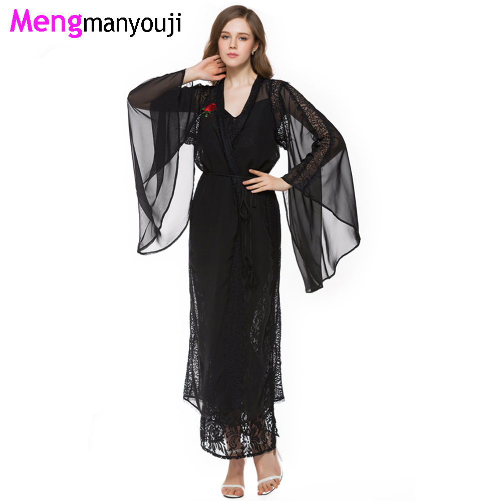 Women Autumn/Summer Chiffon Cardigan Long Lace Dress Set Rose ...