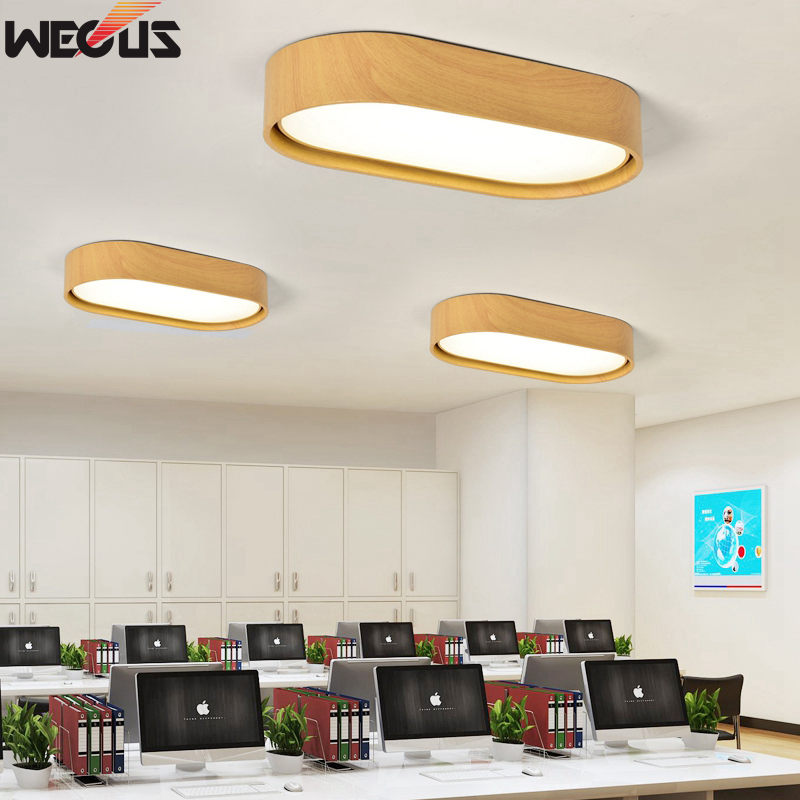все цены на Double-layer wood strip long office light, creative wood grain art ceiling light LED light, study / aisle / corridor / lamps