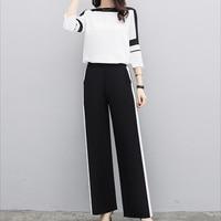 Шифон Для женщин комплекты элегантные офисные модные комплекты топы с длинными рукавами + широкие штаны брюки из двух частей черный, белый ц...