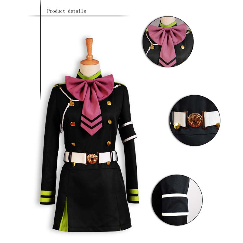 Seraph Of The End Hiiragi Shinoa Cosplay Anime Owari no Seraph Costume With Bowknot Japanese Uniform Anime Cosplay