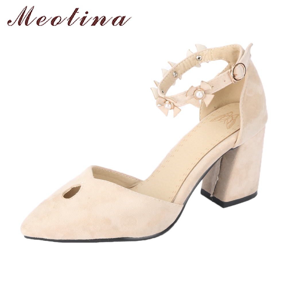где купить Meotina Women Ankle Strap Shoes High Heels Pumps Pearls Flower Party Shoes Pointed Toe Two-piece Shoes 2018 Shoes Big Size 45 46 по лучшей цене