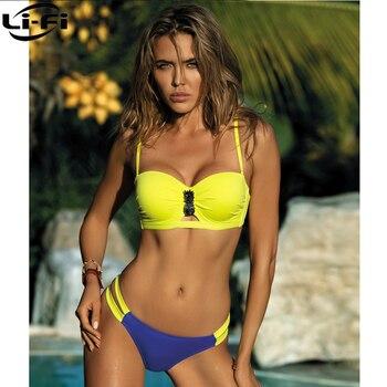 LI-FI 2021Swimwear Sexy Bikinis Women Swimsuit  Pineapple Patchwork Swimming Pool Sports Bikini Set Plus Size Bathing Suit S~XL