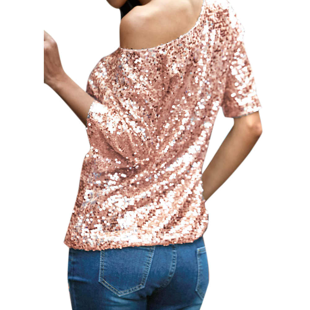 ... Summer Sexy Women Loose Off Shoulder Sequin Glitter T shirts Women  Casual Shirts Vintage Streetwear Party ... a12d97e43dc1
