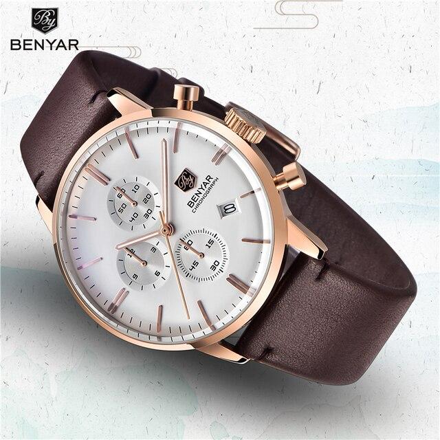 New Benyar Mens Watches Multi Function Wristwatches Mens Top Luxury Brand Watch Male Sport Quartz Chronograph Relogio Masculino