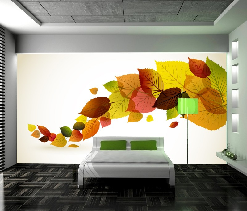 Buy leaf design of splicing with write for Images of 3d wallpaper for bedroom