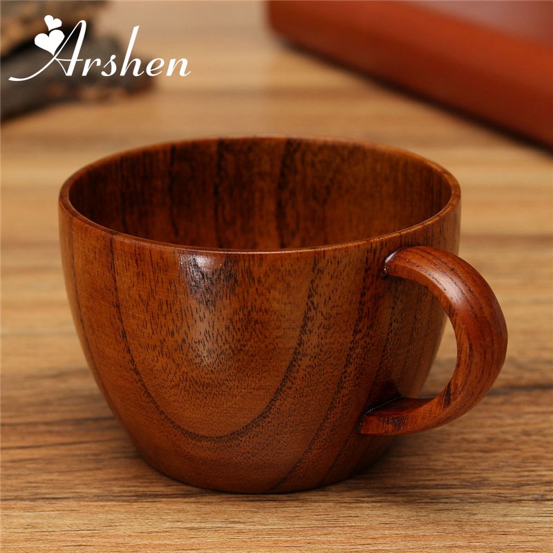 Arshen 260ml 1Pc Primitive Handmade Wooden Tea Beer Mugs With Handgrip Tableware Drink Milk Coffee Cups
