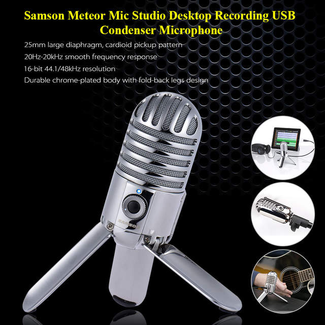 US $67 01 30% OFF|Samson Meteor Mic Studio Desktop Recording Condenser  Microphone Fold back Leg Design with USB Cable Carrying Bag for Computer  PC-in