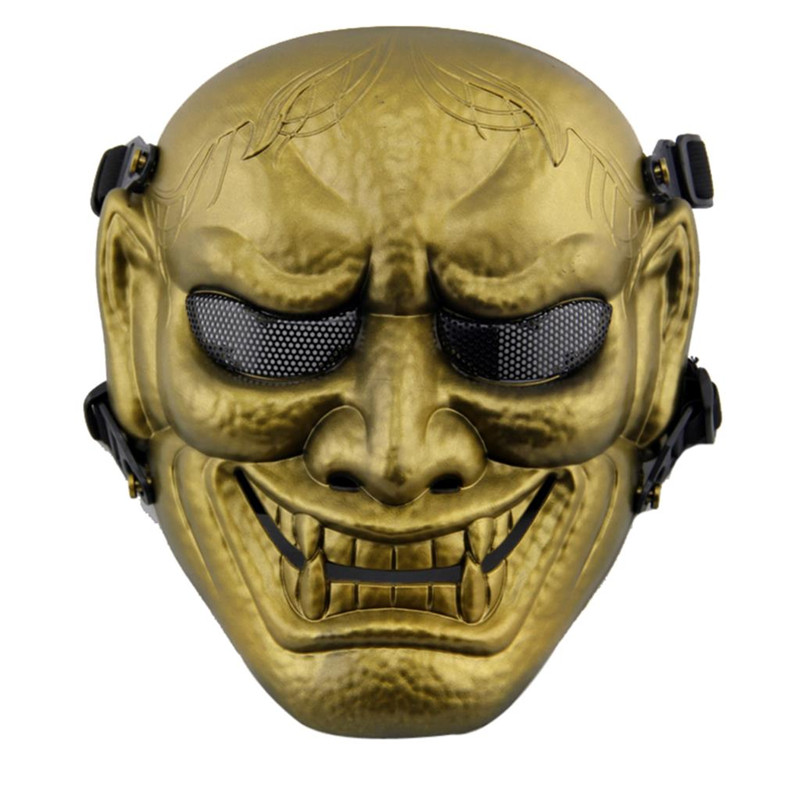 DC11 Japanese Ghost King Samurai Military Tactical Skull Full Face Protective Mask Airsoft Paintball Wargame Cosplay Halloween