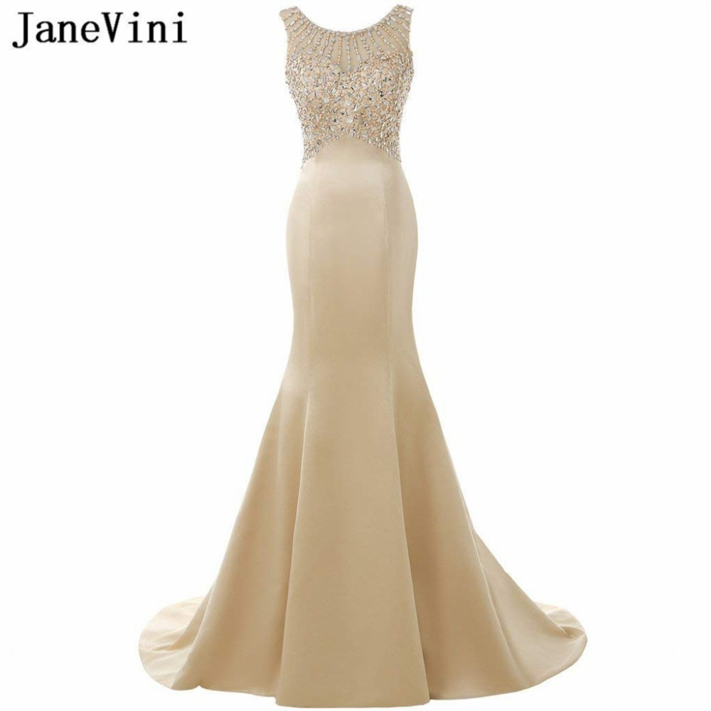 JaneVini 2018 Champagne Long   Bridesmaid     Dresses   with Sequins Crystal Scoop Neck Sweep Train Mermaid Prom Gowns Robe Longue Satin