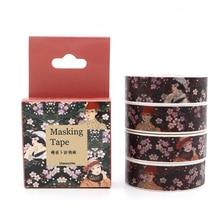 Sticker Masking-Tape Decorative Sakura Adhesive Scrapbooking Girl 10m--15mm Box And Package