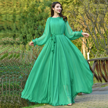 vintage Long Sleeve Runway High quality womens Maxi Dress Holiday Beach Plus Sizes flowy party dress