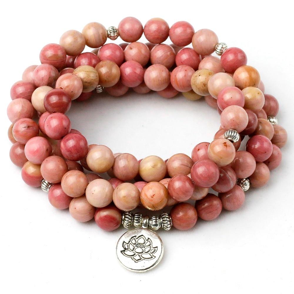 Natural Rhodochrosite Stone Beaded Buddha OM Mantra Lotus Bracelet Men Jewelry Wing Charm Bracelets Yoga For Women