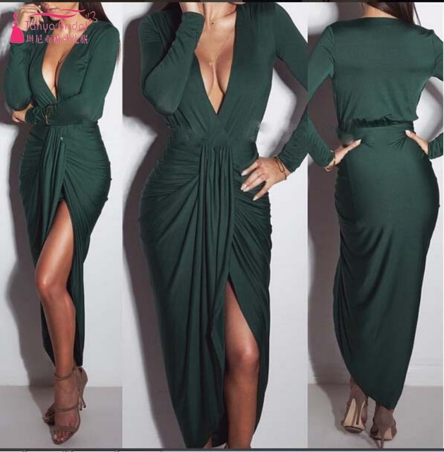 Simple Style V Neck Long Sleeves Sexy Evening Dress With Stretch Straight Spandex robe de soiree longue 2018Cheap Dress DQG389