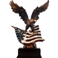 American Flag Eagle Art Decoration Flying Eagle Figurines Friend Gift for Living Room Adornment Animal Big Bird Miniatures