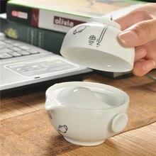 Neue weiß keramik teekanne tasse, 1 stücke topf 1 stücke tasse Kung Fu tee-set, persönliche büro reise tragbare schnelle tassen geben ein gutes geschenk