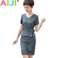 Summer Gray Black Striped Elegant Short Sleeve One Piece Dress Women V Neck Work Wear Office