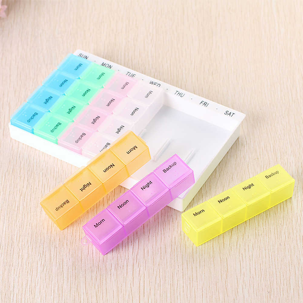 7 Day Pill Medicine Tablet pillbox Dispenser Organizer Case with 28 compartments pill box multicolor container for medicines