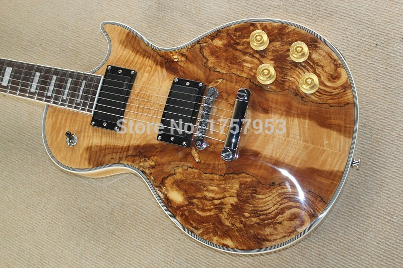 Free Shipping Factory Custom Shop 2017 new One Piece Neck Tiger Natural Maple wood color Top Standard L Electric Guitar 3 23