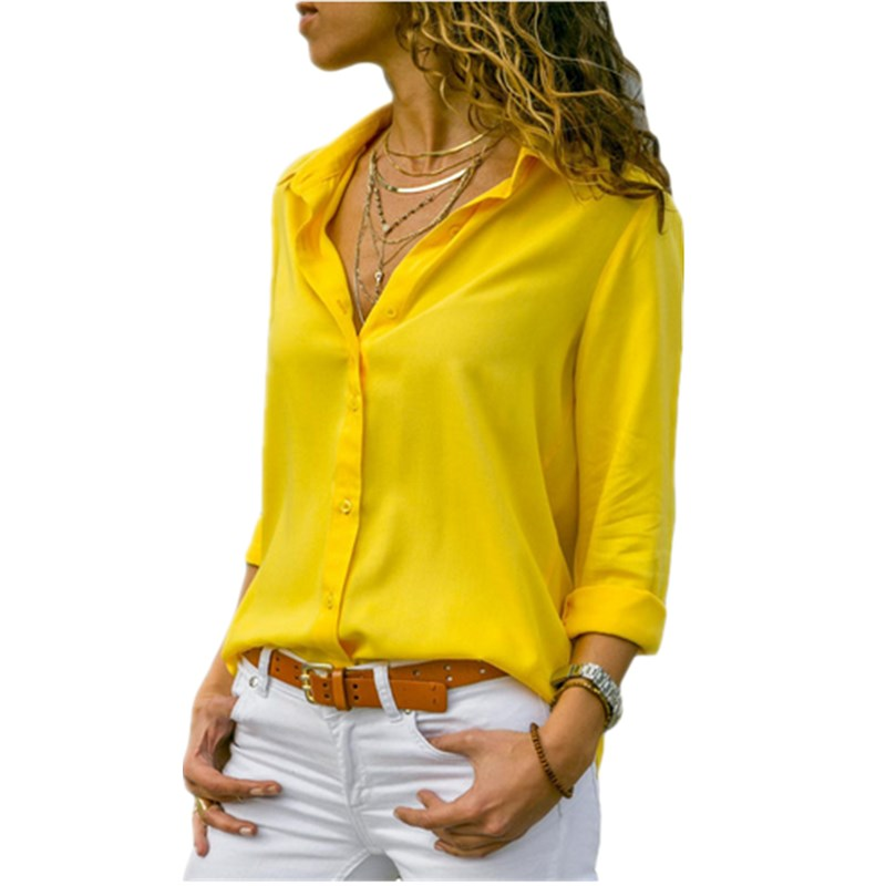 Lossky נשים חולצות חולצות 2018 סתיו אלגנטי ארוך שרוול מוצק V-צוואר שיפון חולצה נשי עבודה ללבוש חולצות חולצה בתוספת גודל