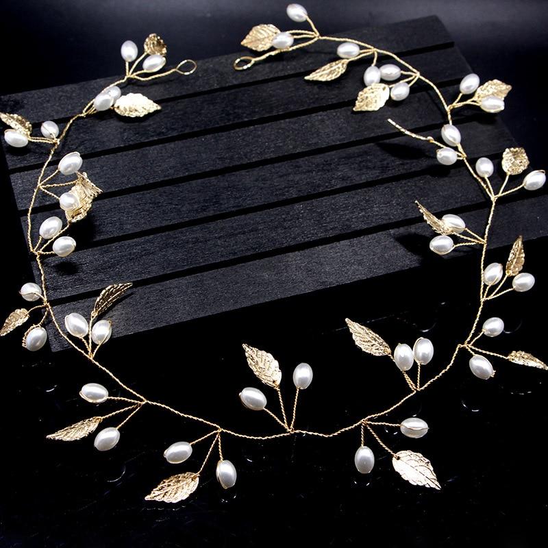 Headdress Hair-Ornaments Wedding-Hair-Accessories Pearl Crystal Bridal-Hairbands Gold