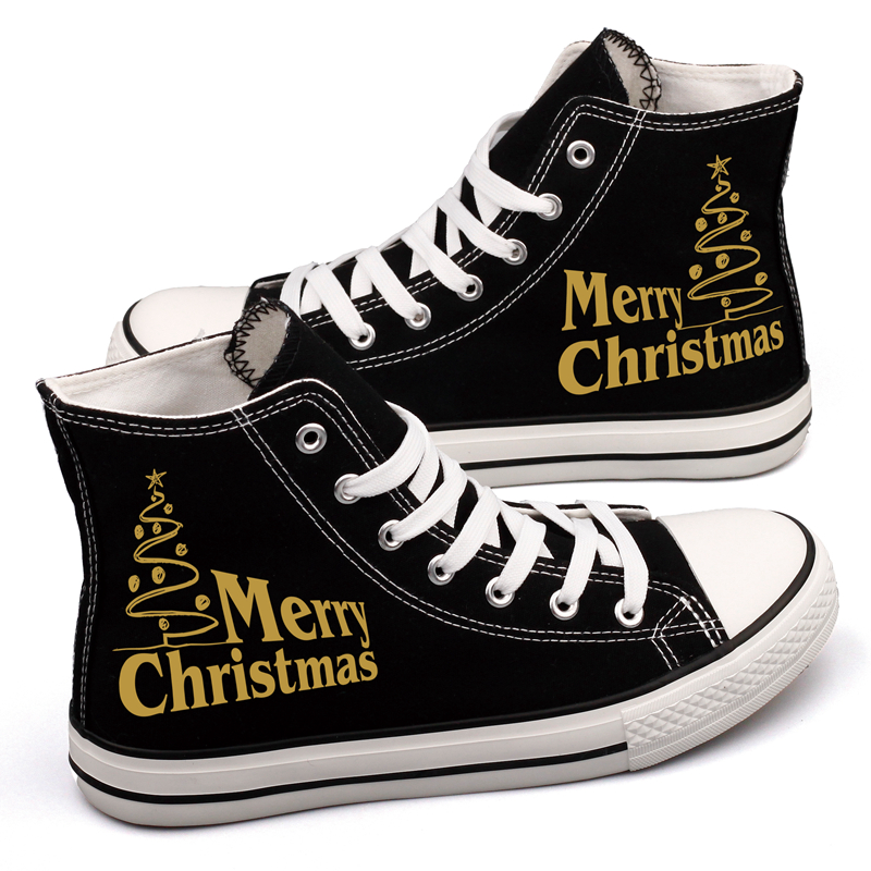 Merry Christmas Print Santa Claus Canvas Shoes High Top Black White Casual Walking Shoes Men Flat Tenis Espadrilles Chaussures e lov women casual walking shoes graffiti aries horoscope canvas shoe low top flat oxford shoes for couples lovers