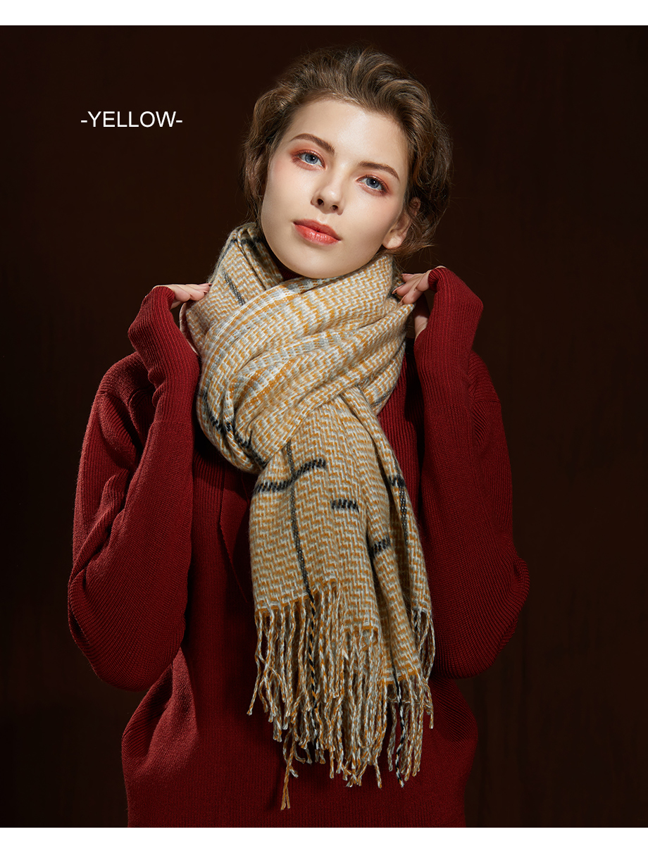 2019 New Winter Autumn Wool Knitted Women Scarf Plaid Warm Cashmere Scarves Shawls Luxury Brand Neck Lady Wrap High Quality (11)