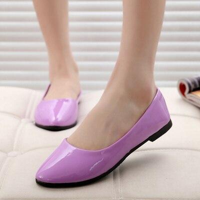 Primavera Verano mujeres zapatos de cuero Mujer Zapatos solo superficial redondo remolque primavera otoño Ballet pisos mujeres zapatos casual