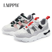 цены на Fashion Style Women Shoes Casual Running Sports Shoes Genuine Leather Chunky Sneakers Breathable Lace Up Woman's Singles Shoes  в интернет-магазинах