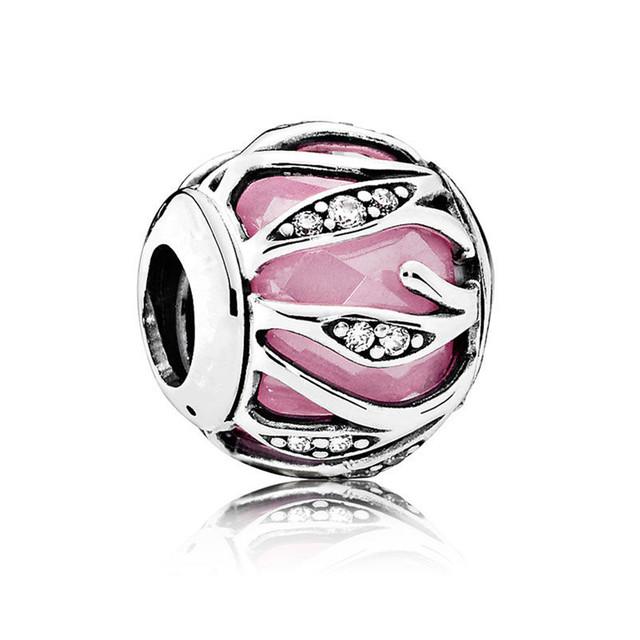 925 encantos de la plata esterlina Nueva colección otoño de Entrelazamiento Resplandor rosa encanto del grano fit pulseras Memnon Joyería BE390