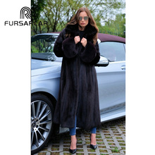 цена FURSARCAR 2018 New Real Mink Fur Coat Women With Turn-down Collar Natural Genuine Mink Fur Female Coat Luxury Long Style