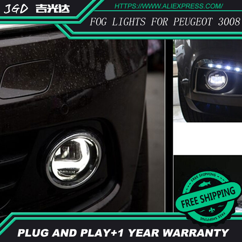 Free Shipping Fog light For Peugeot 3008 LR2 2006-2014 Car styling front bumper LED fog Lights high brightness fog lamps 1set led front fog lights for renault logan estate ks 2007 2014 2015 car styling bumper high brightness drl driving fog lamps 1set