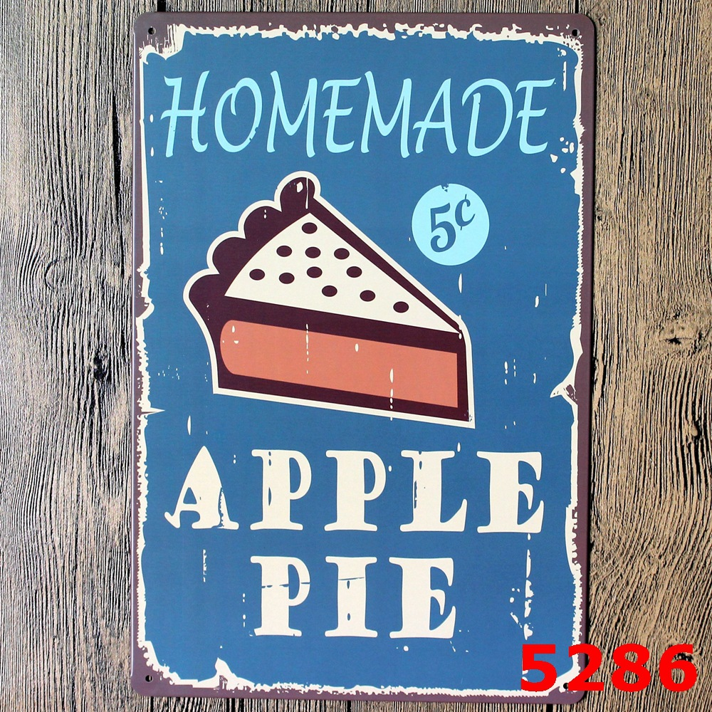 Apple Pie for Vintage Home Decor Tin Sign Coffee Cake Shop Wall ...