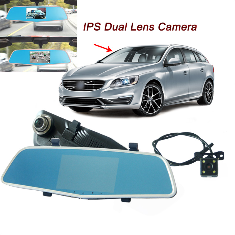 BigBigRoad For volvo v40 v50 v60 v70 s40 s60 s80 Car DVR Rearview Mirror Video Recorder Dual Camera 5 inch IPS Screen Dash Cam