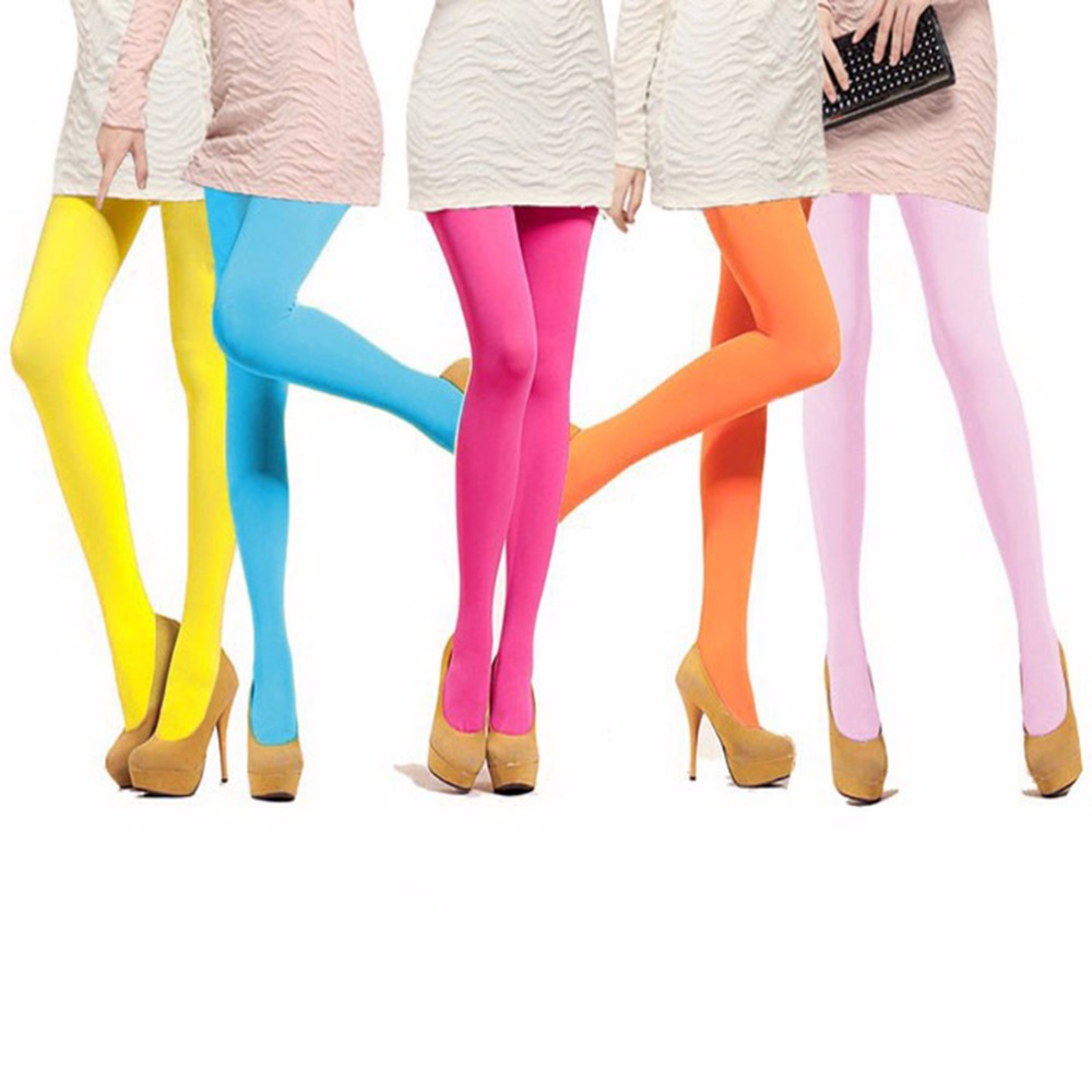 Women Candy Color Seamless Pantyhose Sexy Warm Tights Velvet Pantimedias Elastic Strumpfhose Slim Collants