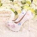 Moda elegante Blanco Señaló los zapatos de La Perla de la Boda Nupcial Zapatos de Las Mujeres Barato Encaje Tacones Altos Bombas