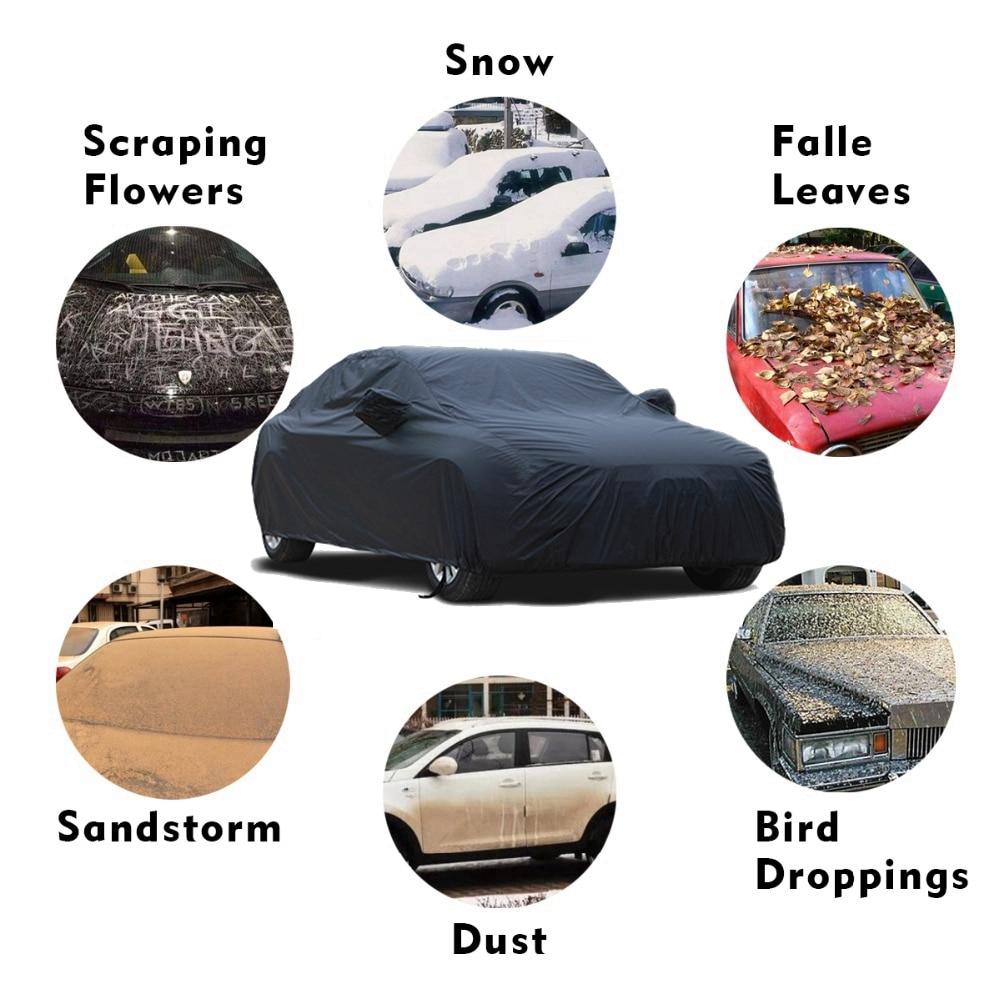 X Autohaux universel noir respirant imperméable tissu bâche de voiture w miroir poche hiver neige été complet voiture Protection couvre - 5