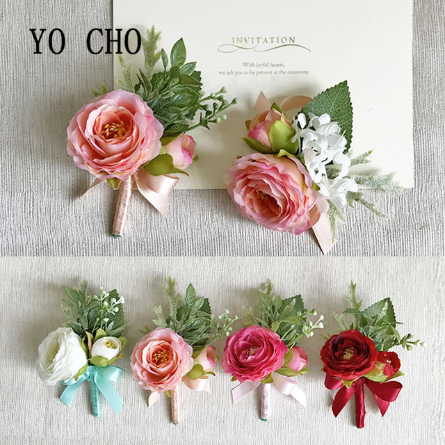 Yo Cho Wedding Corsages Groom Boutonniere Bride Bridesmaid Mom Hand Wrist Flower Artificial Flowers Prom Suit