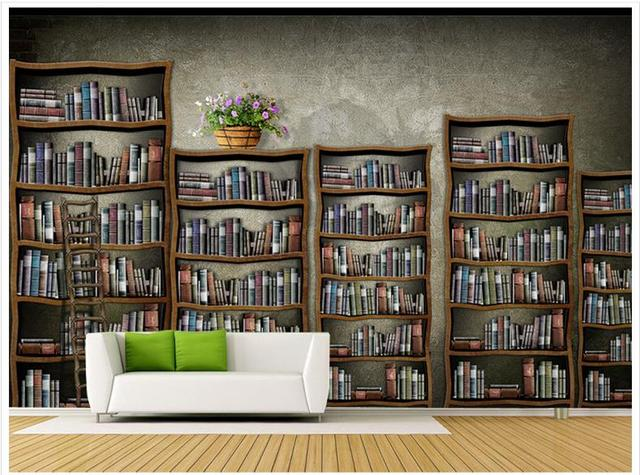 Tapete Bücherregal 3d wallpaper benutzerdefinierte 3d wand mural tapete mode innen