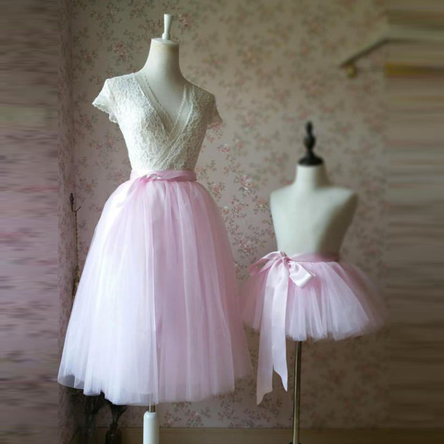 69dac9f0634 2017 Mother Daughter Tutu Pink Tulle Skirt Photography Props Mother Baby  Matching Tutu Midi Skirts with Sashes Any Color Free