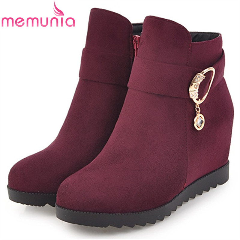 MEMUNIA PU nubuck leather ankle boots for women height increasing zip solid fashion boots spring autumn large size 34-43 memunia large size 34 44 ankle boots for women fashion boots female in spring autumn med heels shoes pu zip solid hot sale