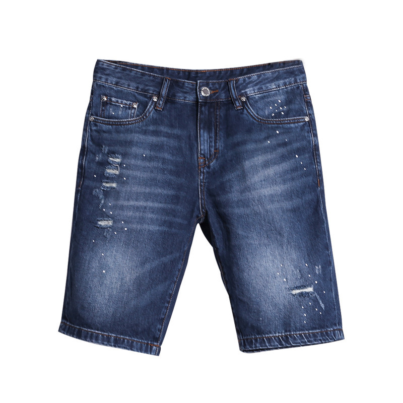 Brand Clothing Mens Destroyed Jeans Shorts High Quality Straight Fit Knee Length Designer Blue Denim Ripped Short Jeans Men цена 2016